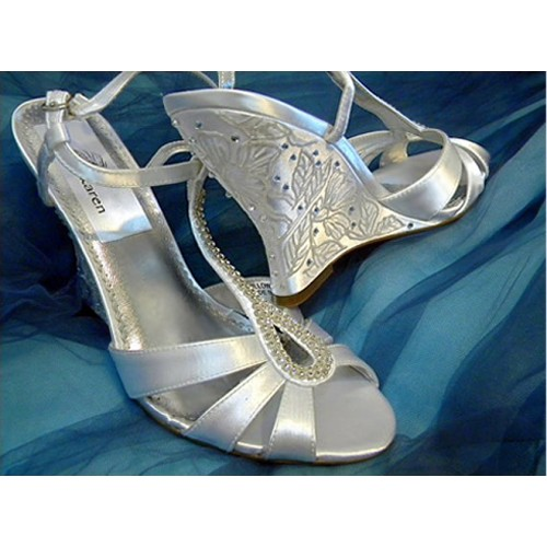 "Bridal handpainted shoes in white, Model ""Willow"""