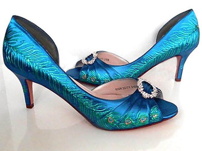 9945b18d76d 1920 s style inspired peacock bridal shoes