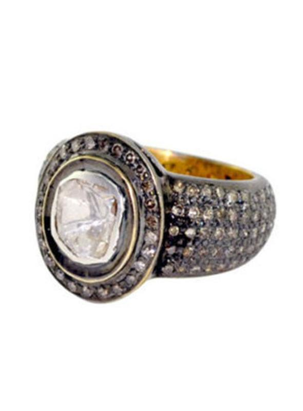 SuratKarat Victorian Rose Cut Diamond Ring - WSR22001