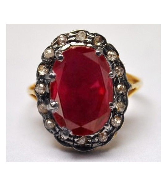 SuratKarat Victorian Rose Cut Diamond Ruby Ring - WSR13802