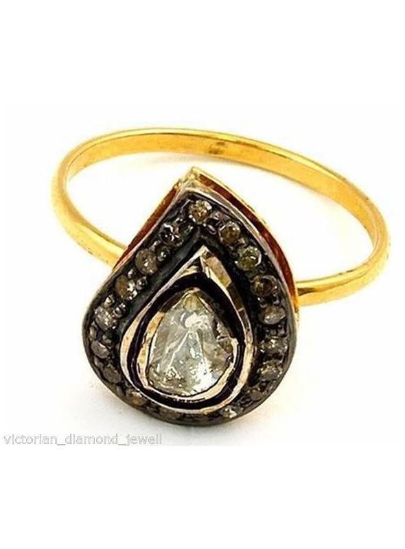 SuratKarat Victorian Antique Cut/Rose Cut Diamond Ring - WSR07203