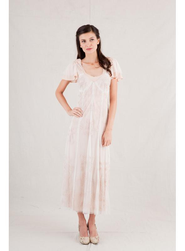 Nataya Spring Ivory/Peach Dress - 40169