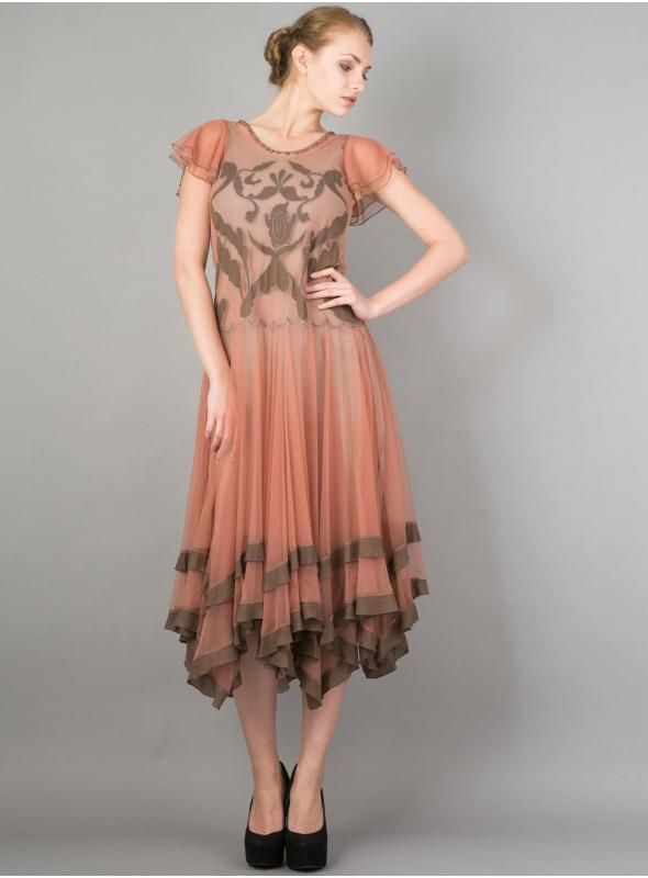 Downton Abbey Romantic Vienna Party Dress in Rose/Silver by Nataya