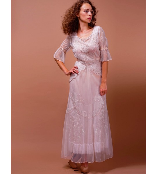 Edwardian Vintage Inspired Wedding Dress in Ivory/Blush by Nataya