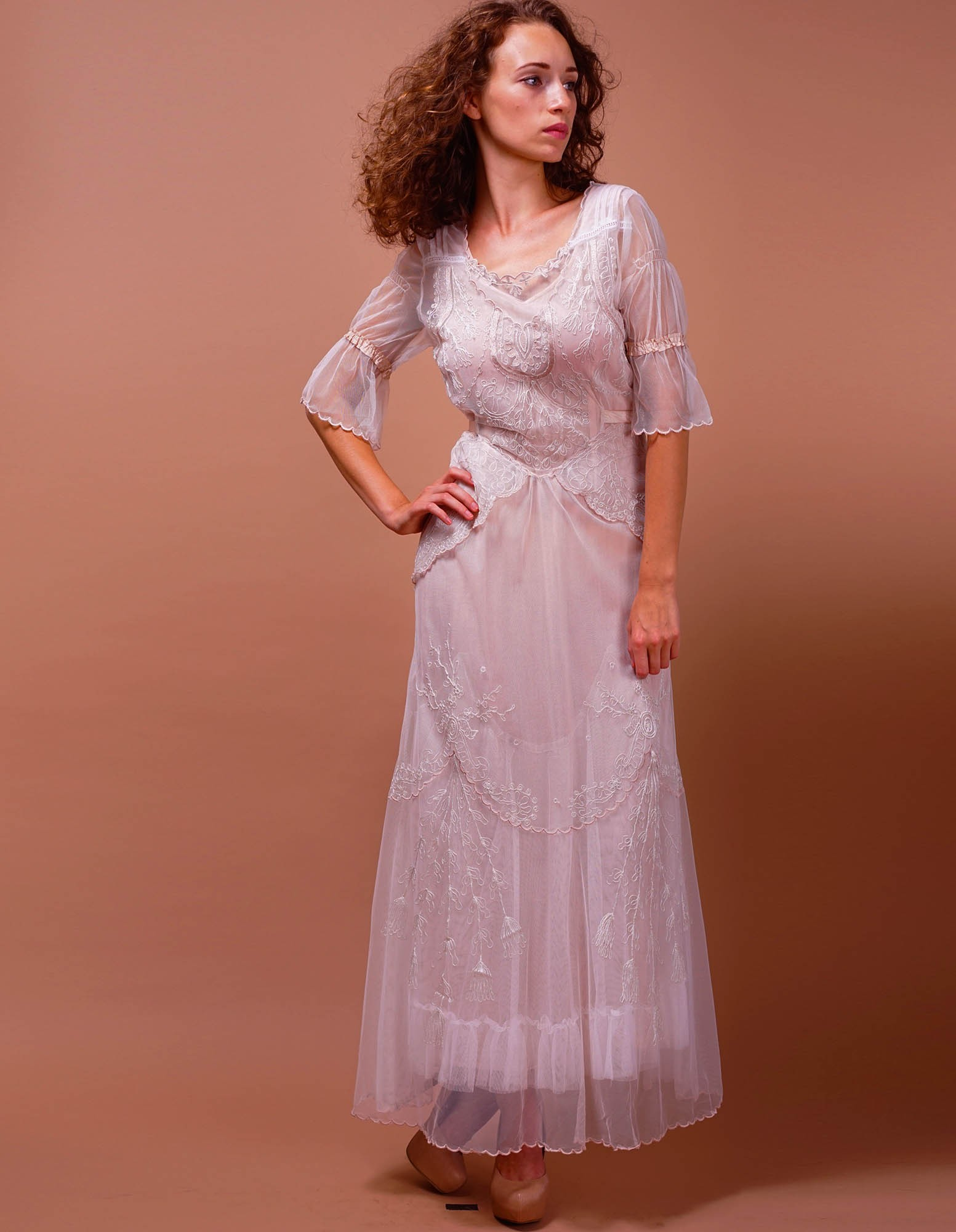Edwardian Vintage Inspired Wedding Dress in Ivory-Blush by Nataya