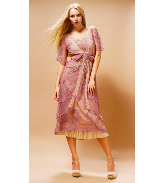 Embroidered Layered Summer Dress in Rose/Butter by Nataya