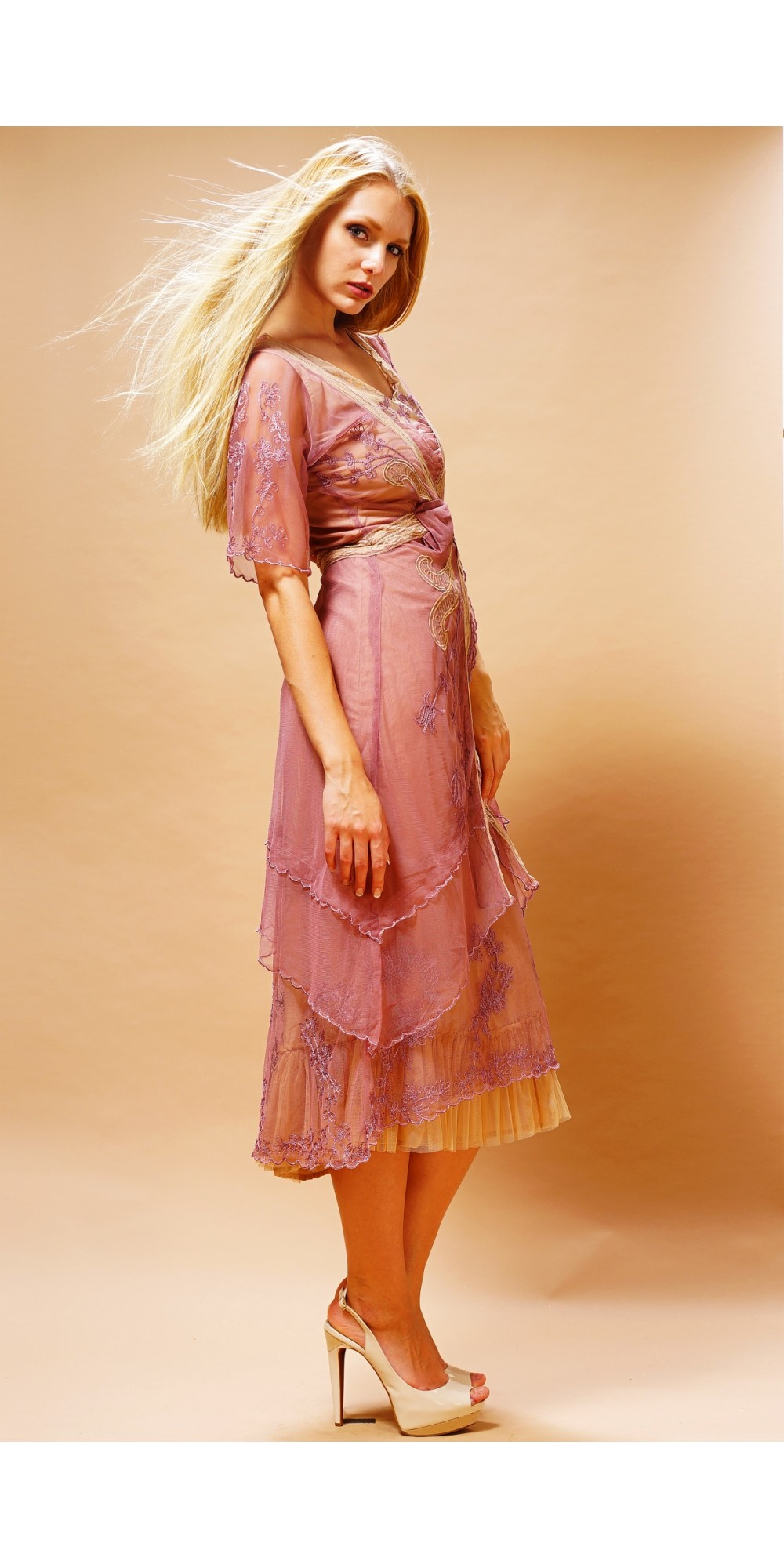 cb16197b5c0 Embroidered Layered Summer Dress in Rose Butter by Nataya