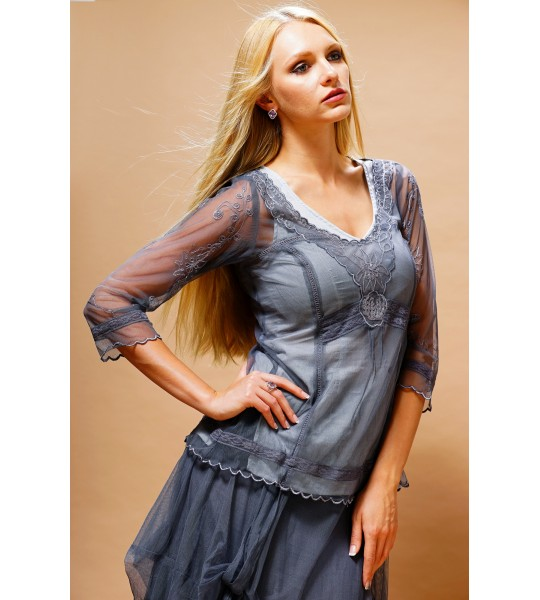 Romantic Vintage Style Top in Blue by Nataya