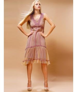 Bohemian Vintage Inspired Dress in Rose/Beige by Nataya