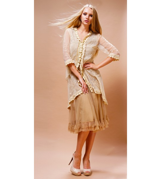 Romantic Embroidered Jacket in Butter by Nataya