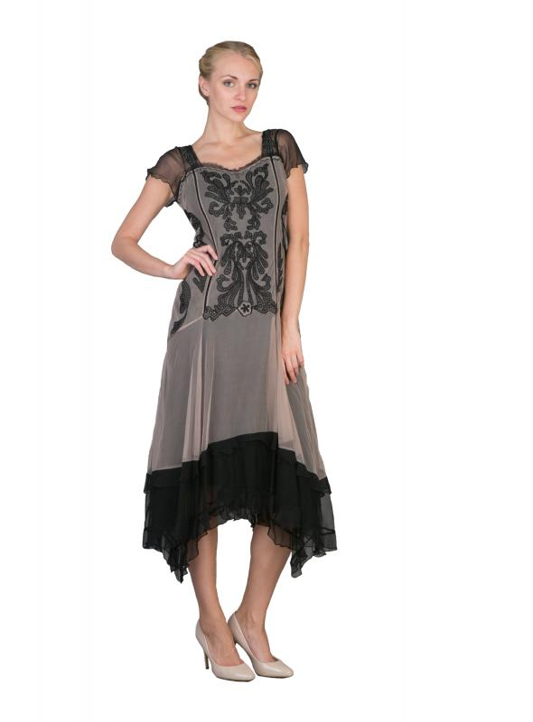 Embroidered Ruffled Vintage Inspired Dress in Black/Beige by Nataya