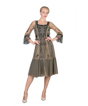 Romantic Embroidered Vintage Party Dress in Black/Beige by Nataya