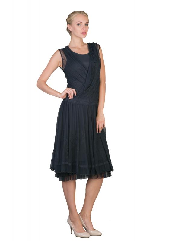Casual Vintage Inspired Party Dress in Navy by Nataya