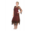Asymmetrical Chiffon Rosettes Party Dress in Chocolate/Raspberry by Nataya - SOLD OUT