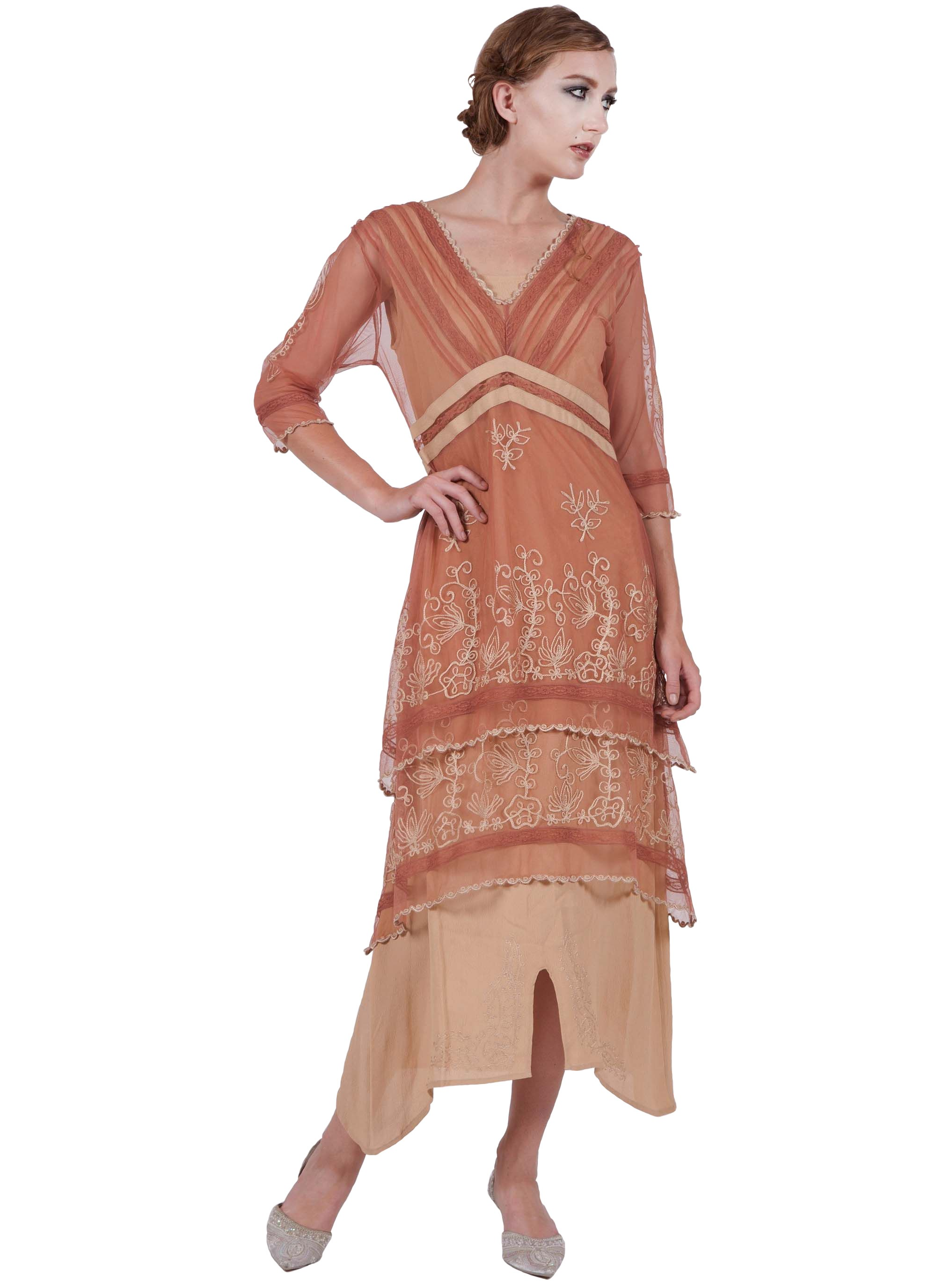 Vintage Anic Dress In Rosegold