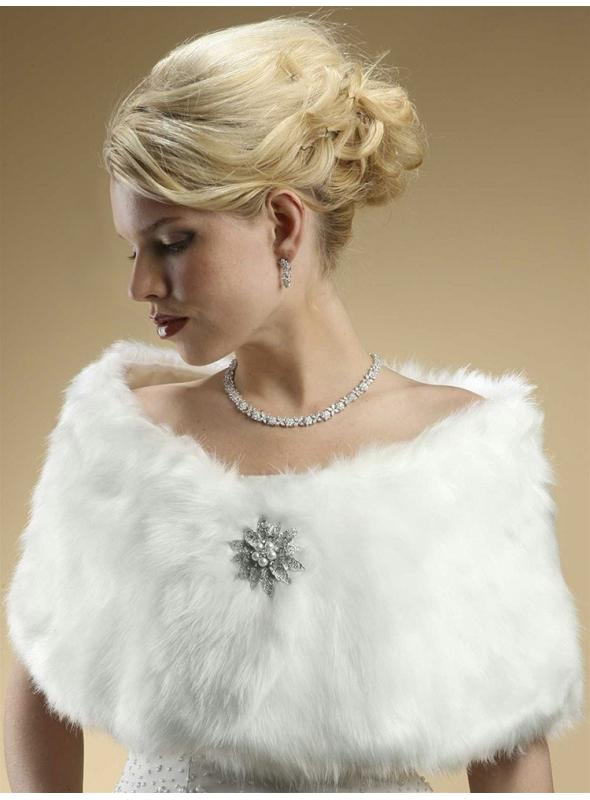 Faux Fur Bridal Wrap with Pure White Fox