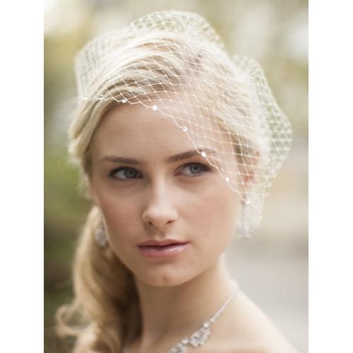 French Net Bridal Birdcage Visor Veil with Swarovski Crystals