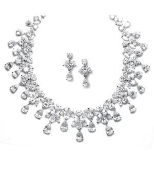 Spectacular Hollywood Cubic Zirconia Statement Bridal Neck Set