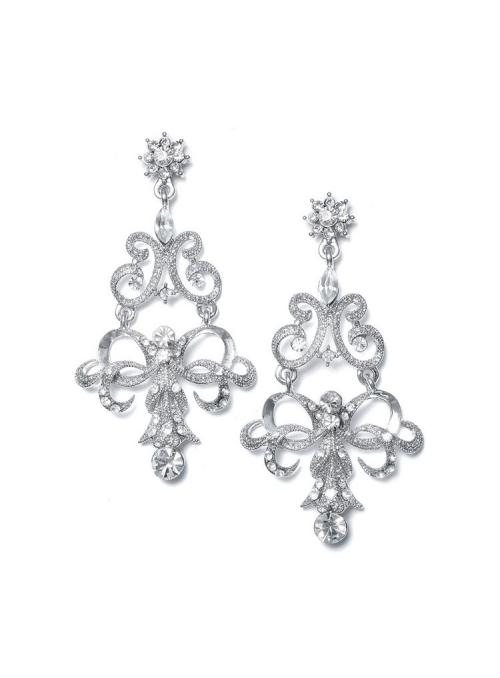 Vintage Ribbon Crystal Chandelier Earrings