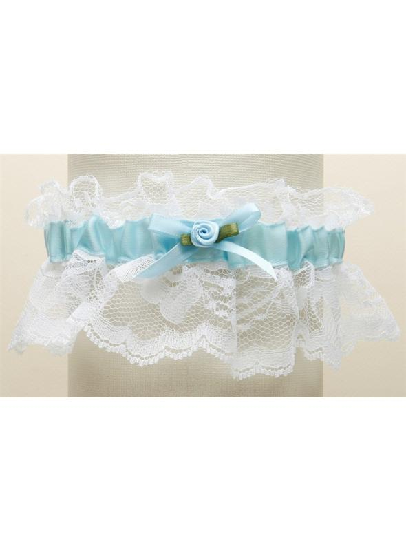 Hand-Sewn Vintage Lace Wedding Garters - White with Blue