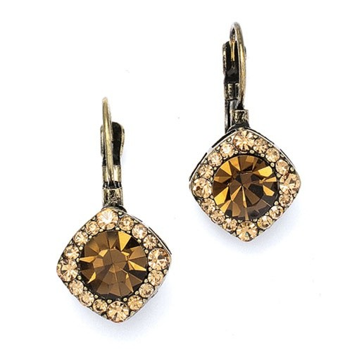 Tailored Brown Crystal Drop Earrings