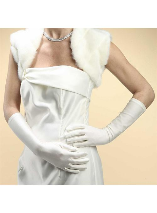 Below Elbow Wedding or Prom Gloves in Matte Satin