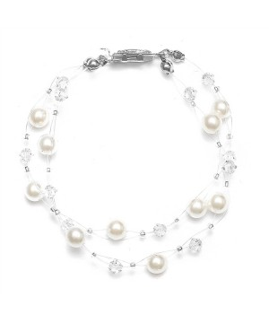 2-Row Pearl & Crystal Bridal Illusion Bracelet