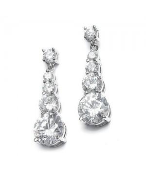 CZ Graduated Dangle Bridal Earrings