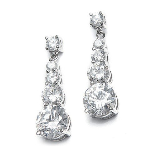 CZ Graduated Dangle Earrings for Brides and Second Time Brides