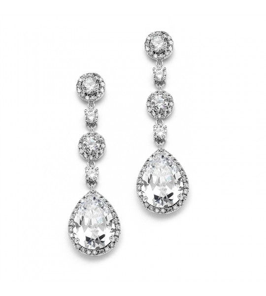 Best-Selling Clip-On Pear-shaped Drop Bridal Earrings with Pave CZ
