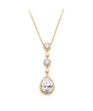 Best-Selling Gold Bridal Necklace with Pear-shaped CZ Drop