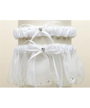 Bridal Garter Set with Inlaid Crystal Hearts