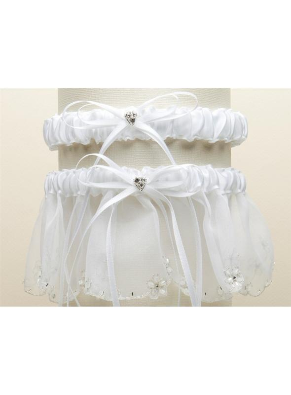 Bridal Garter Set with Inlaid Crystal Hearts