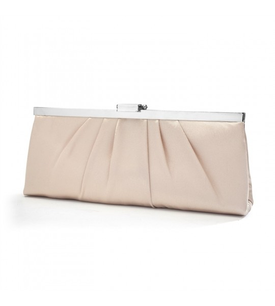 Sleek Framed Satin Wedding Purse in Champagne Satin
