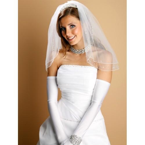 Opera Length Wedding or Party Gloves - Shiny Satin