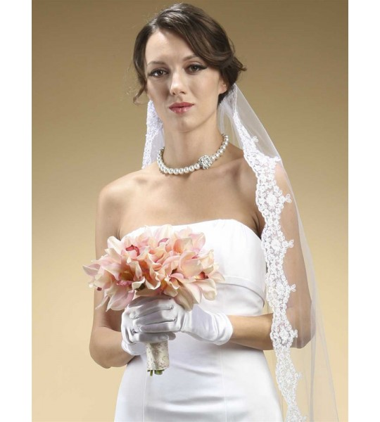 Adult Wrist Wedding Gloves in Shiny Satin