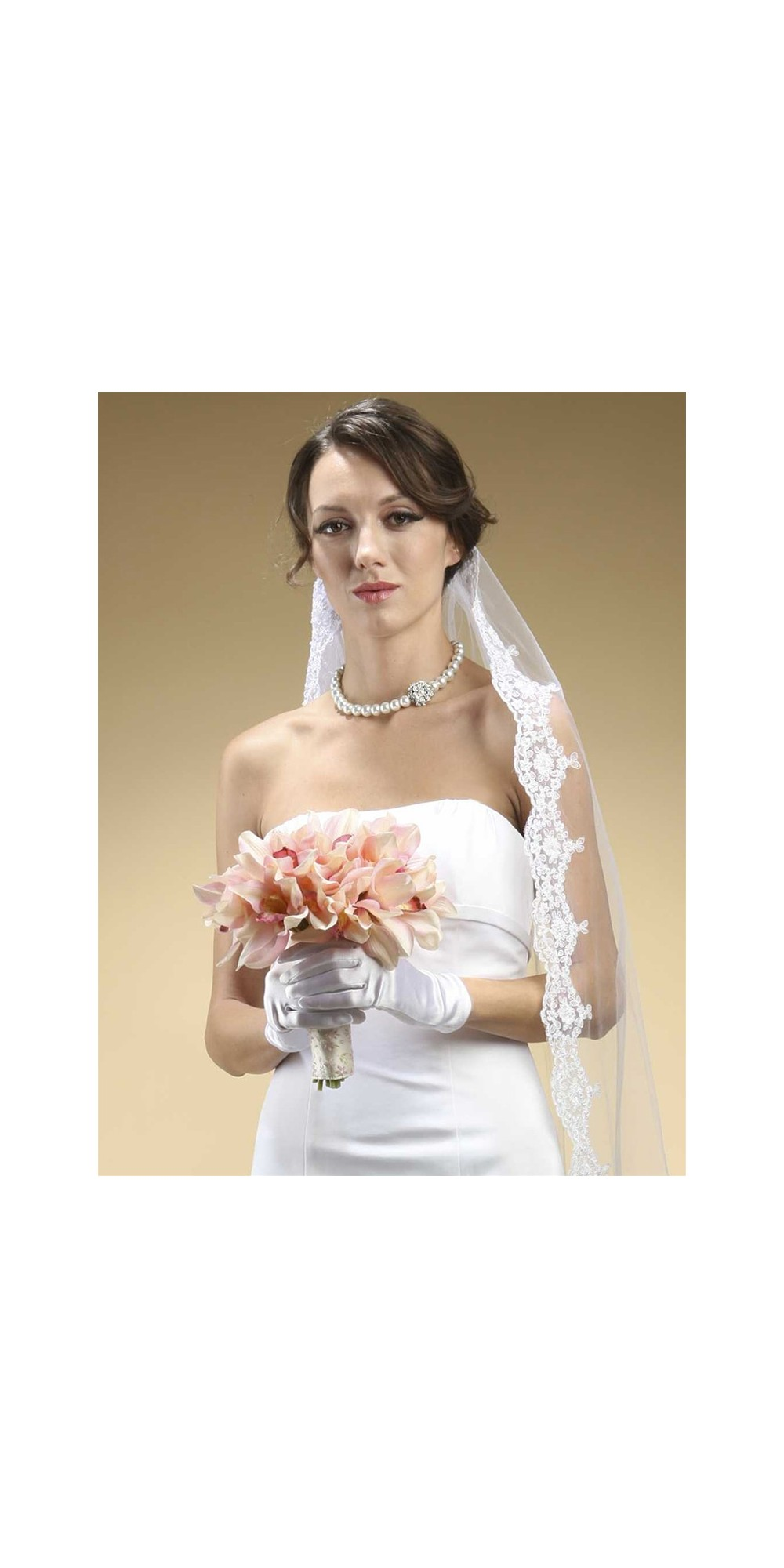 Adult Wrist Wedding Gloves In Shiny Satin