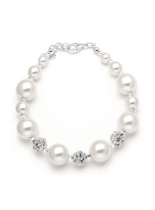 Pearl Wedding Bracelet with Rhinestone Fireballs - White