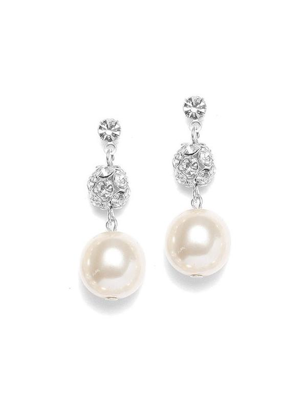 Pearl Wedding Earrings with Rhinestone Fireballs