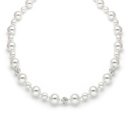 Pearl Wedding Necklace with Rhinestone Fireballs - White