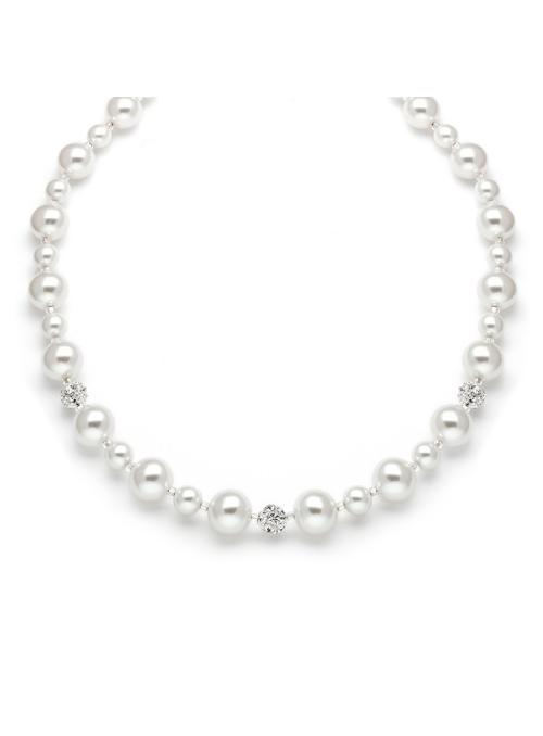 Pearl Wedding Necklace with Rhinestone Fireballs - White