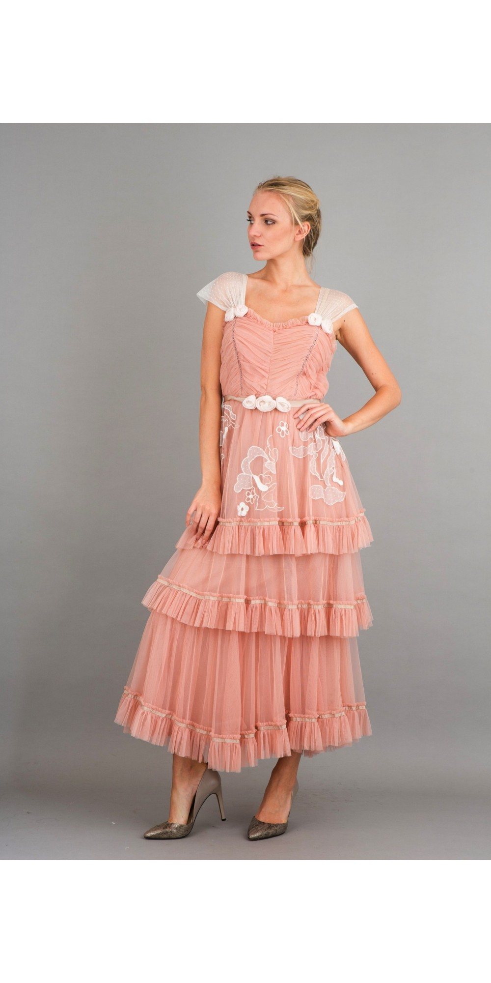 romantic frilled vintage inspired tea party dress in pink