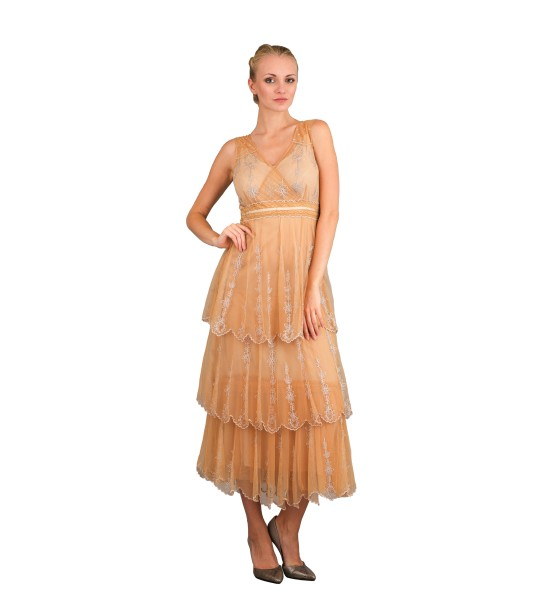 Vintage Inspired Empire Waist Party Dress in Gold by Nataya