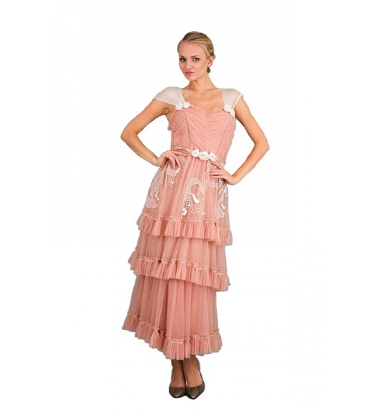 Romantic Frilled Vintage Inspired Tea Party Dress in Pink by Nataya