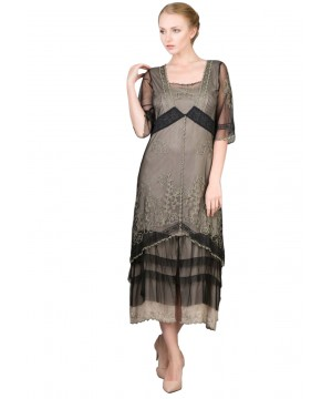 Nataya Titanic Tea Dress AL-2101 in Black/Silver
