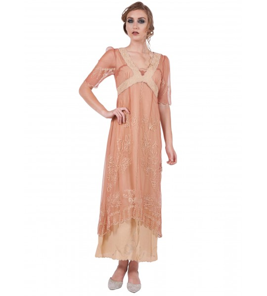 New Vintage Titanic Tea Party Dress in Rose/Gold by Nataya