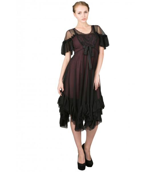 Romantic Black Andalusia Tea Party Dress by Nataya