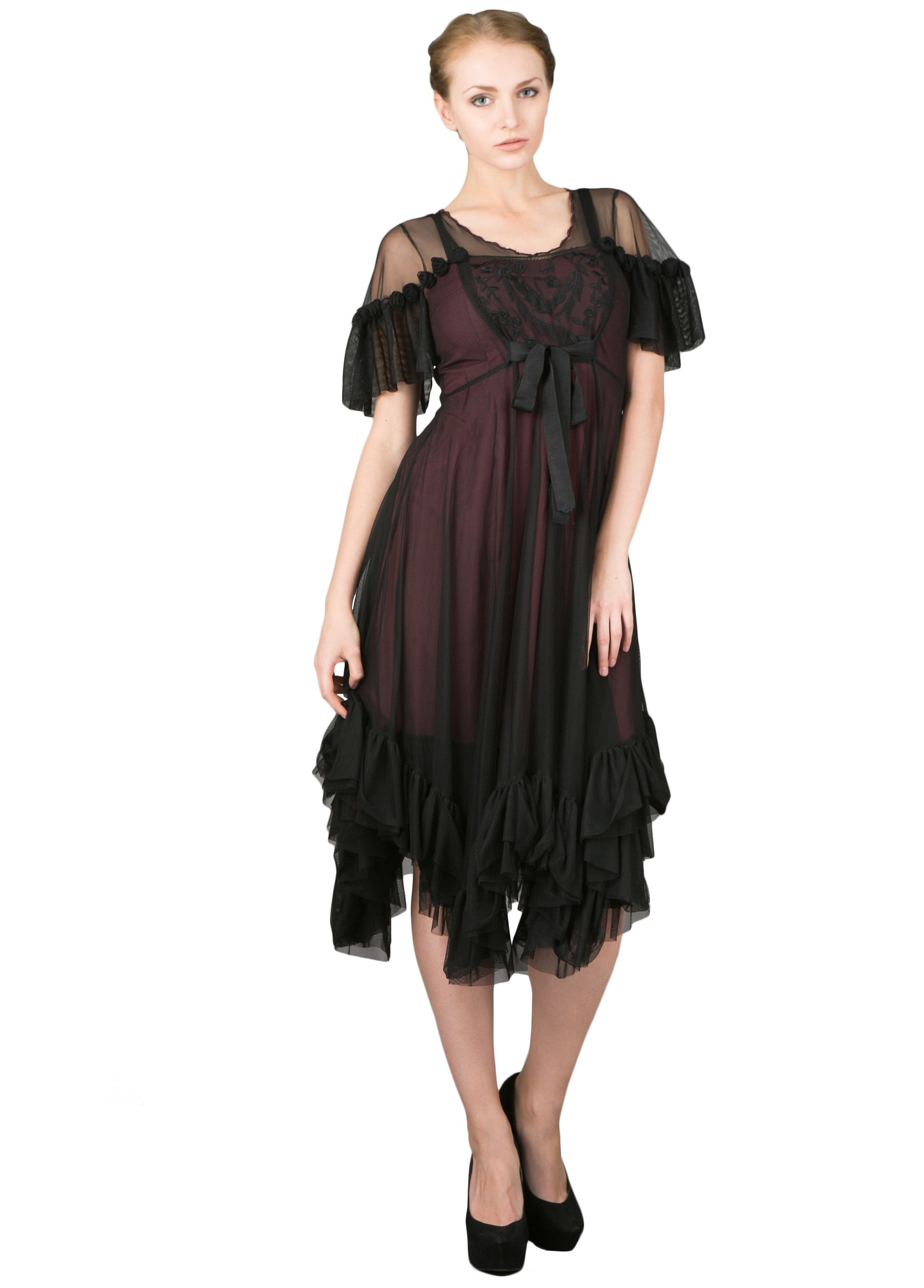 Romantic Black Andalusia Tea Party Dress by Nataya
