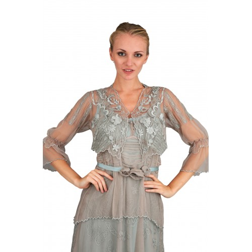 Vintage Inspired 1901 Embroidered Bolero in Silver by Nataya
