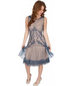 Tatianna Vintage Style Party Dress in Sapphire by Nataya